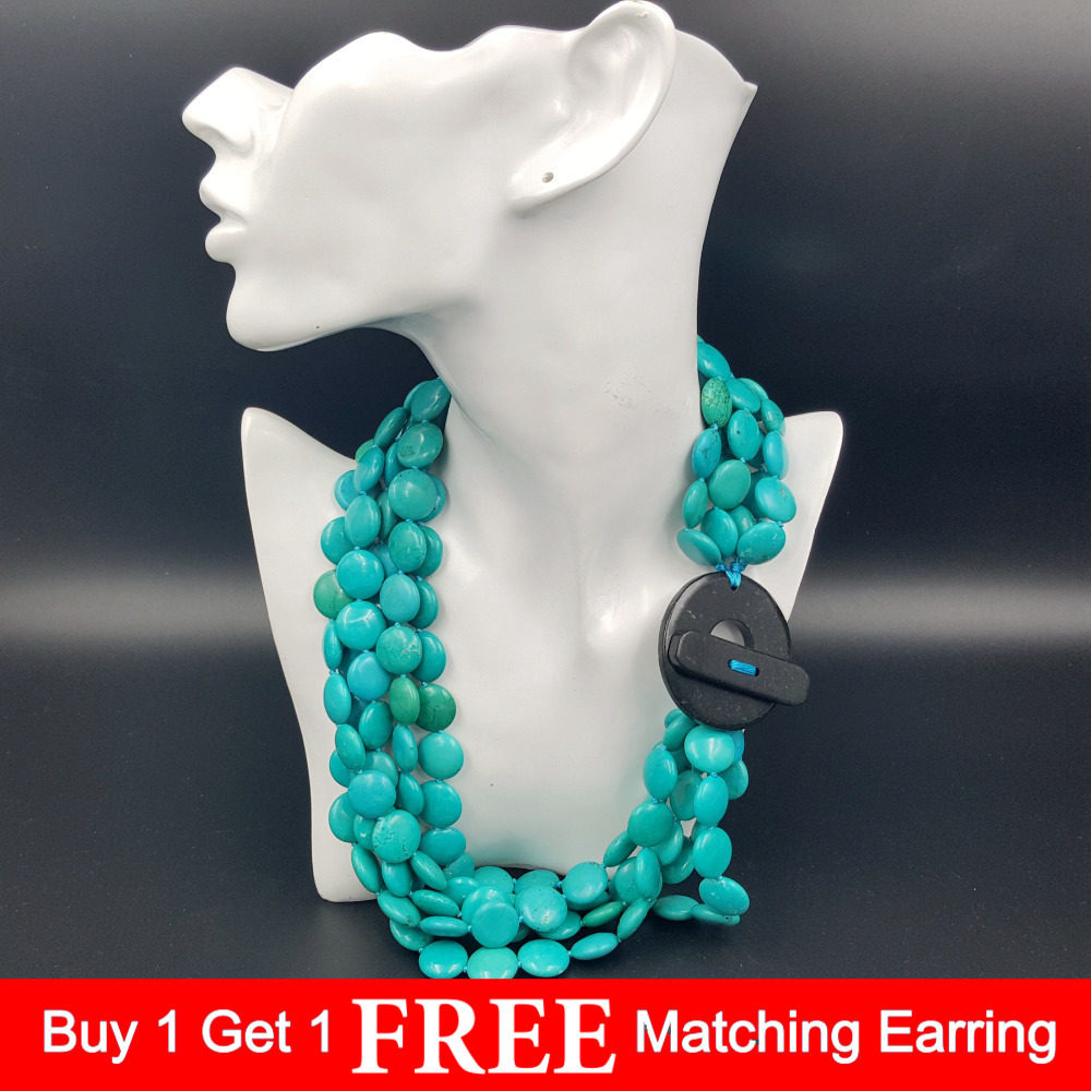 Fashion necklace Natural Stone 16mm Heating Color Blue Turquoises 5 rows Big Stone Toggle Clasp Necklace 54cm/21inchFashion necklace Natural Stone 16mm Heating Color Blue Turquoises 5 rows Big Stone Toggle Clasp Necklace 54cm/21inch