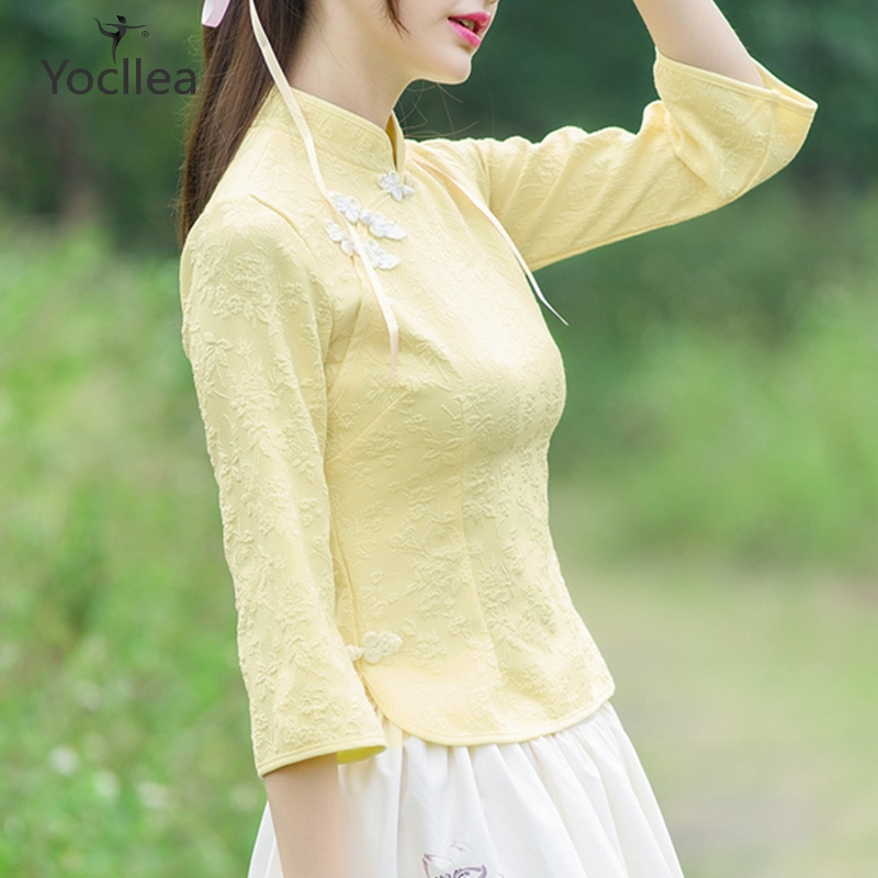 Cheongsam Tops girl Sweet Traditional Chinese Clothing Tang suit Three Quarter sleeve Women Tops chinese vintage