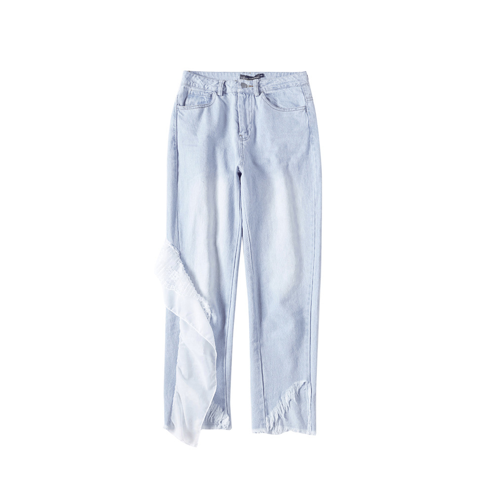 Ocio Vaqueros En Tiempo Jeans Mujer Parte La Blue Cintura Dividir Pantalones E A Conjunto Loto Hoja Nuevo Invierno Nueve Pies Otoño Coreano Borde De OFxqzY8