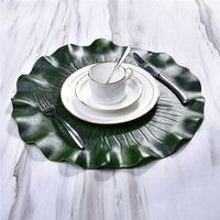 7PC Kitchen Placemat Leaves Pvc Dining Table Mat Disc Pads Bowl Pad Coasters Waterproof Table Decor Cloth Pad Slip Resistant Pad