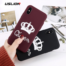 7f04f40879 USLION For iPhone 6 6s 7 8 Plus X Phone Case Cartoon Letter KING QUEEN Crown