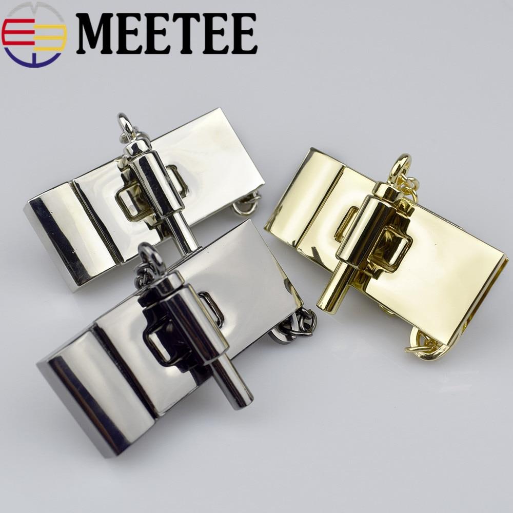 1pcs Meetee κλειδαριά μεταλλικού χεριού Κλειδαριά διακόπτη πόρπης Αξεσουάρ εξαρτημάτων υλικού κλειδώματος ένθετων τσαντών E6-13