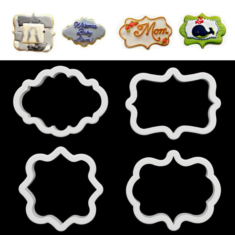 4pcs Gingerbread Mold Cookie Cutter Plastic 3D Pastry Mould Pastry Biscuit Cutter Cake Baking Decorating Tools image