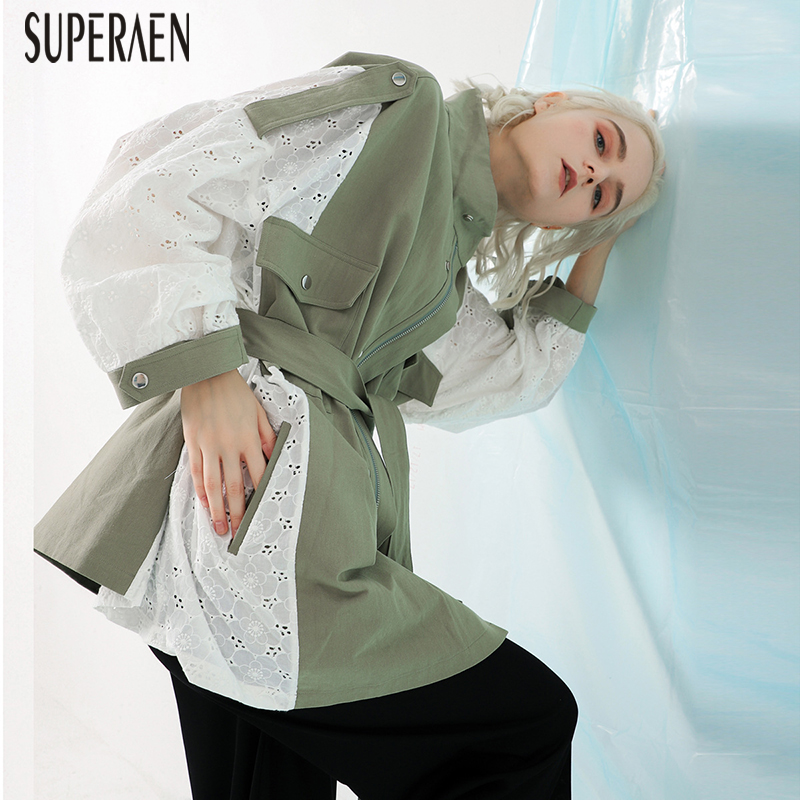 SuperAen New Women's Lace Stitching Windbreaker Spring New 2019 Europe   Trench   Coat for Women Casual Wild Women Clothing