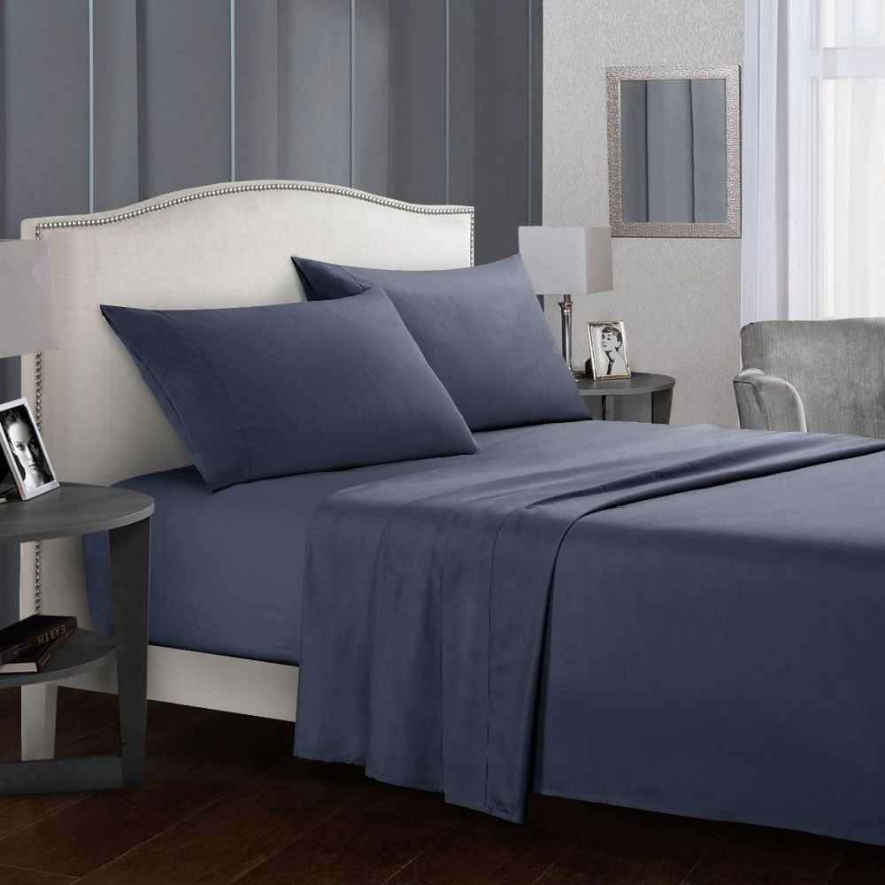 Bedding Set Brief Bed Linens Flat Fitted Sheet with Pillowcase Queen King Size for Single Bed Gray Soft Comfortable White Bed