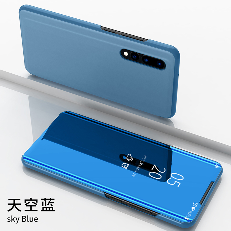 Huawei P30 Case Cover Smart Flip Clear View Leather For  Stand Mirror for flip Capa