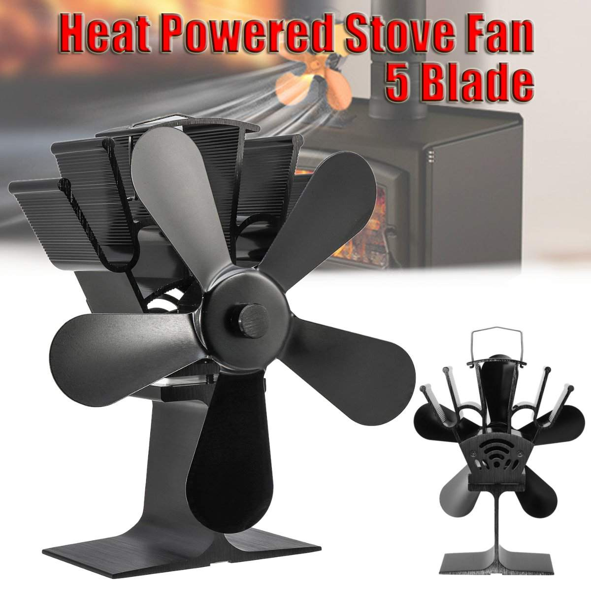 Black Heat Self-Powered 5 Blades Stove Fan Wood Log Quiet Burner Fireplace Eco Friendly Fan Home Efficient Heat DistributionBlack Heat Self-Powered 5 Blades Stove Fan Wood Log Quiet Burner Fireplace Eco Friendly Fan Home Efficient Heat Distribution