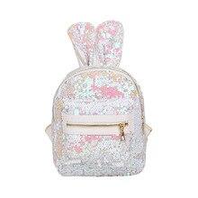 SWYIVY Sequins Rabbit Ear Backpack Bag Woman 2019 Female Casual Backbag Shoulder Dazzle Color Bling Schoolbag