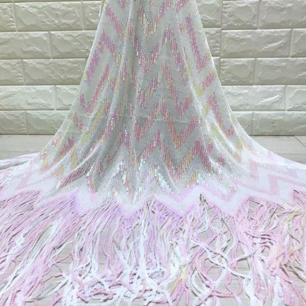 แอฟริกันลูกไม้ฝรั่งเศสผ้า sequins คุณภาพสูงแอฟริกันลูกไม้ Tulle ผ้า sequins 5 หลาสีขาวเลื่อมลูกไม้ผ้า-ใน ลูกไม้ จาก บ้านและสวน บน   1
