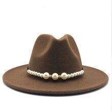 3957a7554c91b Ala ancha mujer Otoño de perlas de moda sombrero de lana Jazz invierno de sombrero  Fedora
