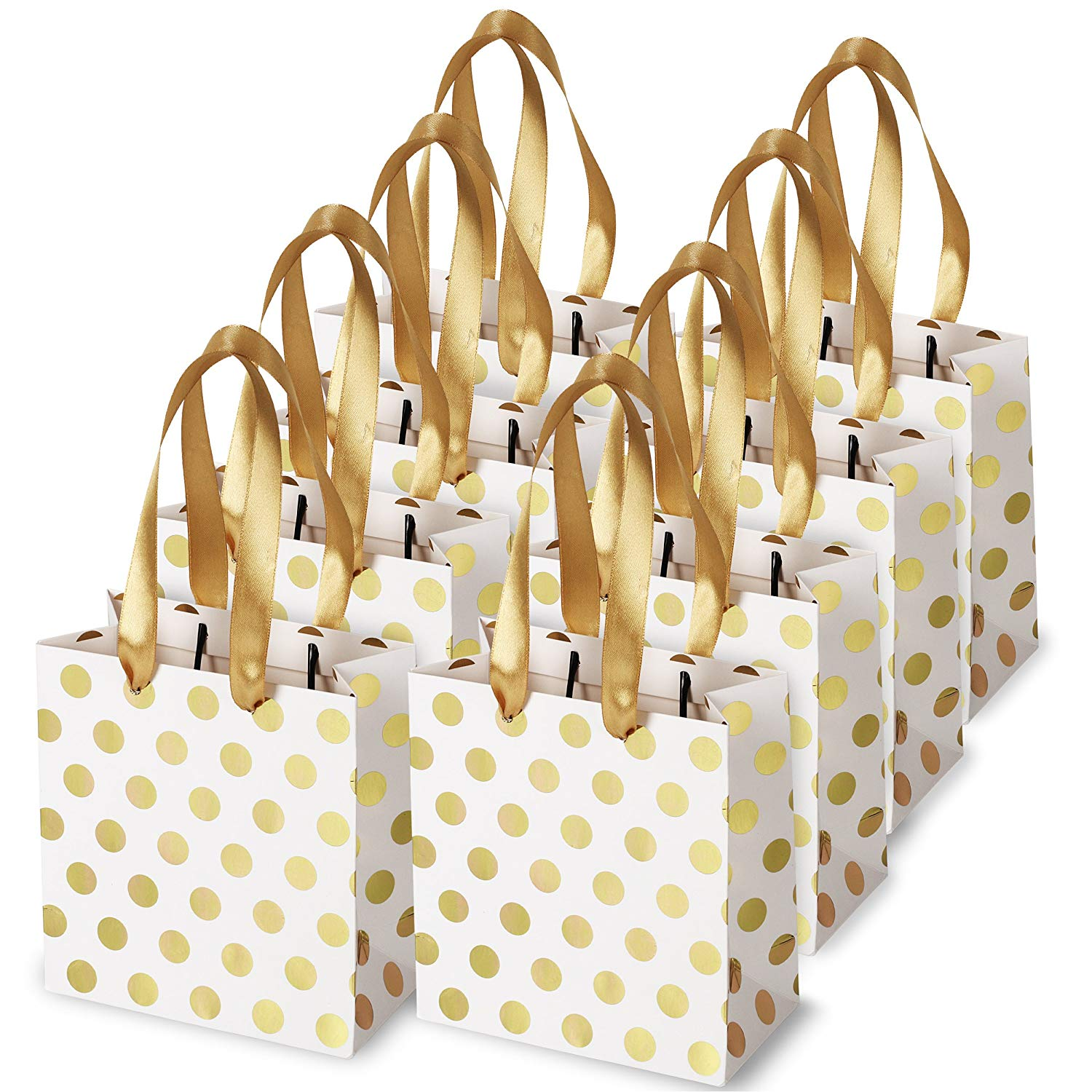 Small Gift Bags with Ribbon Handles Gold Mini Gift Bag,for Birthday Weddings Christmas Holidays Graduation Baby Showers