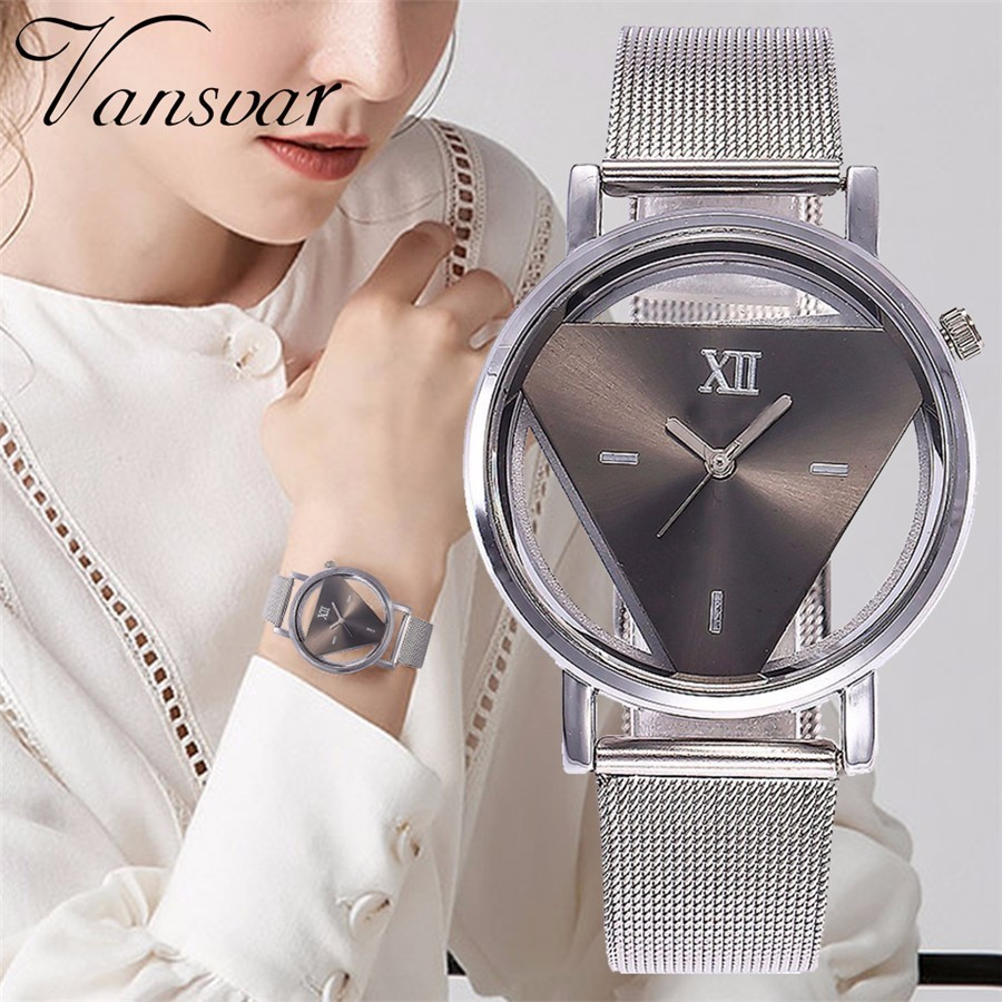 Drop Shipping Women Silver Triangle Quartz Watch Casual Luxury Stainless Steel Transparent Hollow Watches Clock Relogio Feminino