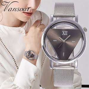 Clock Watches Stainless-Steel Transparent Silver Triangle Hollow Women Luxury Casual