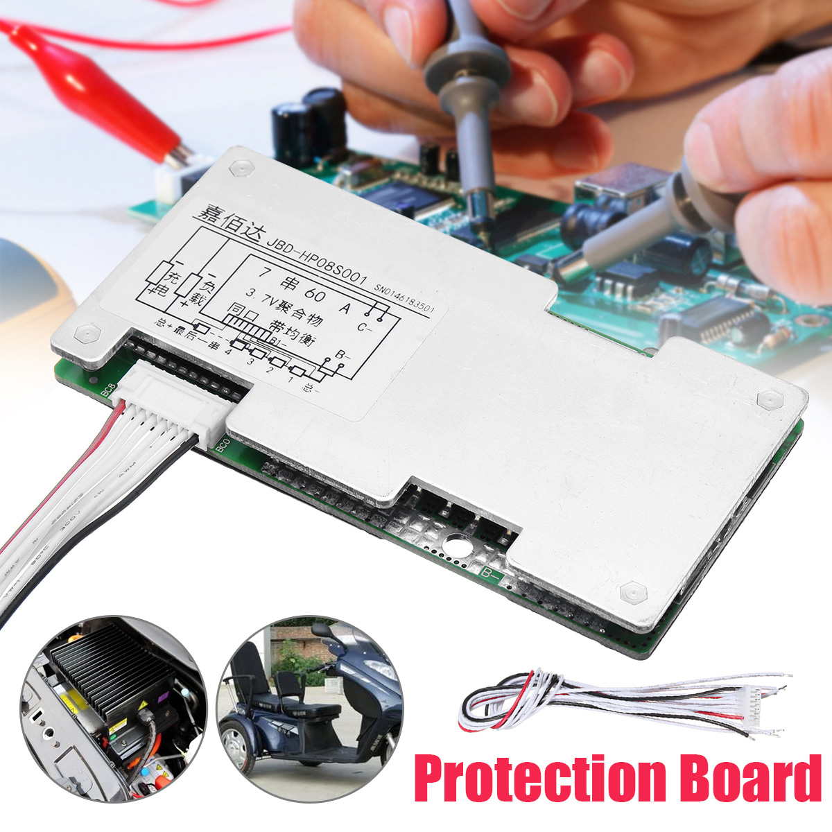 1PC New Arrival 7s 24v Li-ion Lithium Cell 60A 18650 Battery Protection Board with Balance 110x55x9mm1PC New Arrival 7s 24v Li-ion Lithium Cell 60A 18650 Battery Protection Board with Balance 110x55x9mm