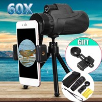 40X60 BAK4 Monocular Telescope HD Night Vision Scope 16x52 Len Telescope Monocular Smartphone Clip Tripod with Cover Bag Case