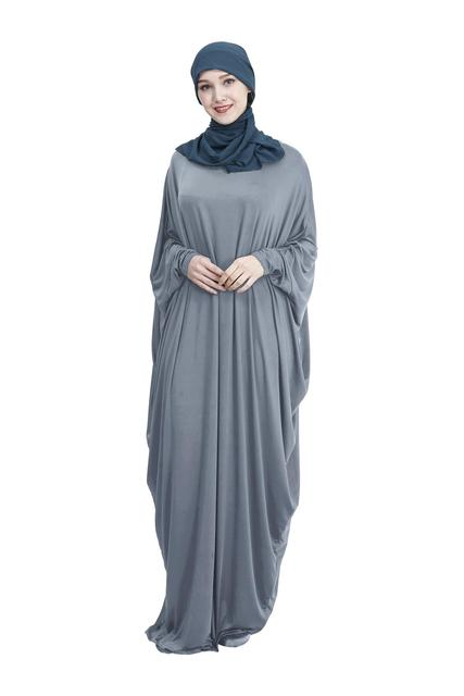 Abaya Muslim Women Long Dress Jilbab Kaftan Bat Sleeve Casual Loose Arab Maxi Robe Islam Solid Color Gown Prayer Clothes Garment 5