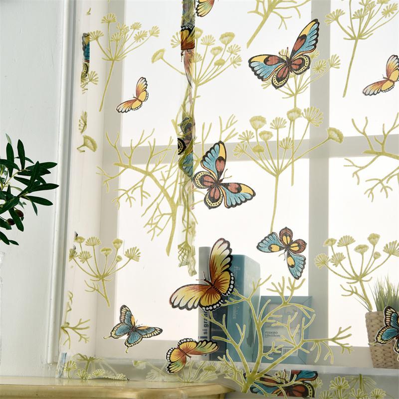 Curtain Short Screens Romantic Kitchen Beautiful Butterfly-Pattern Home-Decor
