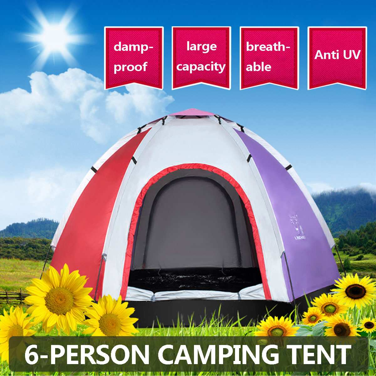 SGODDE 3 4 Person Outdoor Instant Tent Throwing Pop Up Hiking Fishing Camping Beach Tent Set Waterproof Large Tents