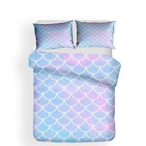 Image 2 - 寝具セット 3D プリント布団カバーベッドセット海マーメイドホームテキスタイル大人のためのリアルな寝具枕 # MRY11