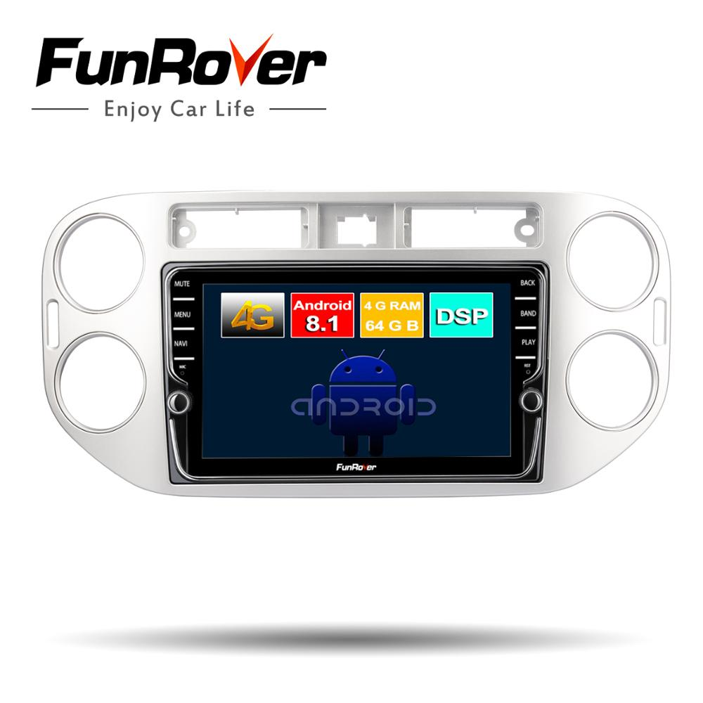 Funrover 2 din Octa core Android 8.1 Car dvd player For Volkswagen Tiguan 2010-2016 Car Radio GPS Navigation audio vedio 4G+64G