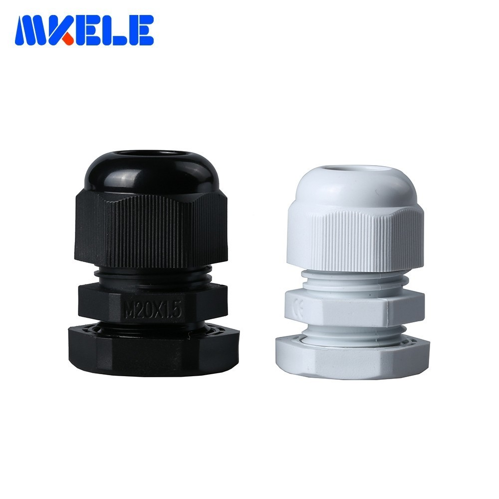 10pcs <font><b>M20x1.5</b></font> Waterproof Cable Gland Black White Ip68 Connector Plastic Nylon Cable Glands Screw Joints For 6-11mm Cable image