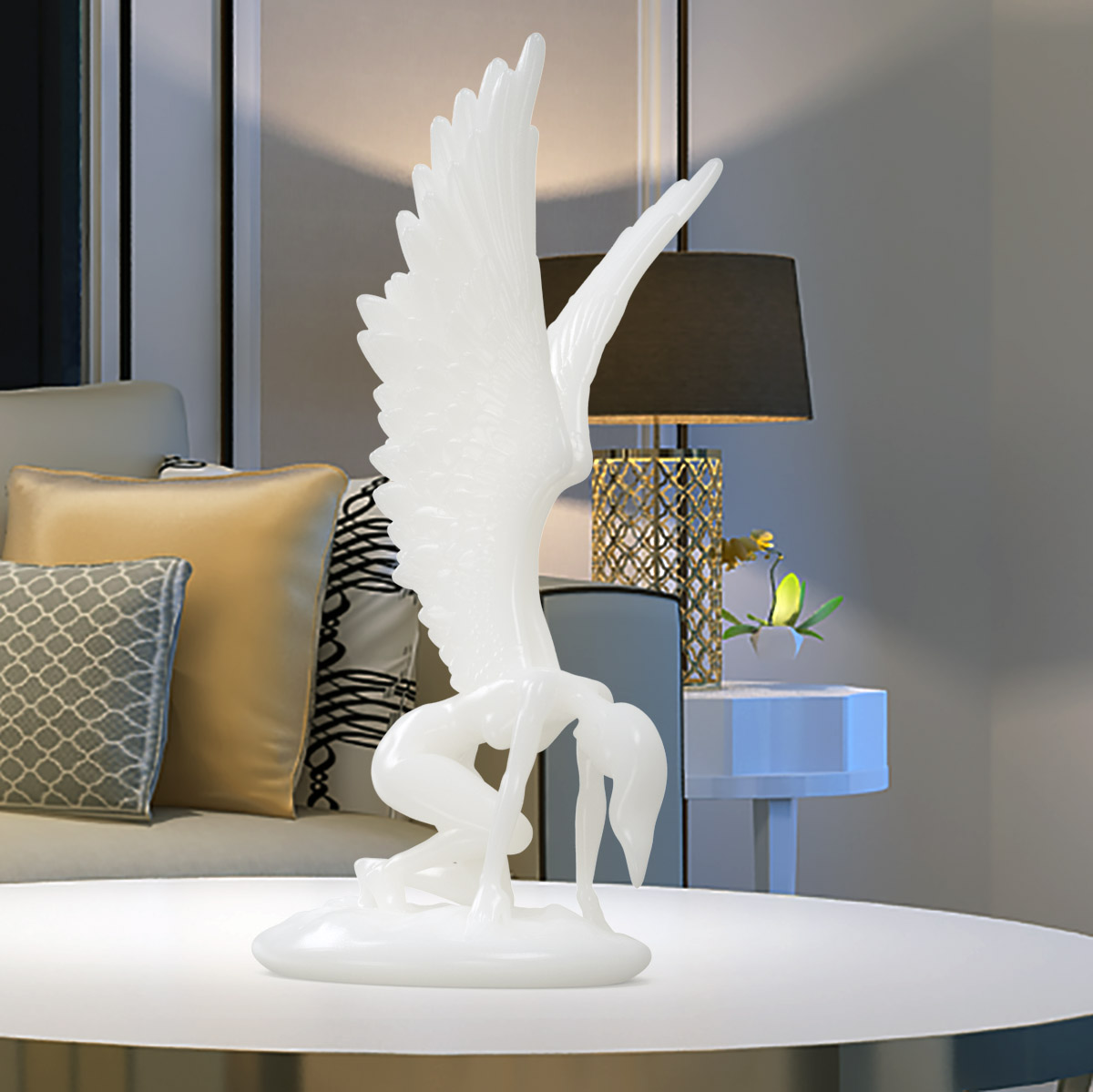 Us 84 32 45 Off Angel With Wings Figurine Printed Sculpture For Living Room Bedroom Home Decoration West Myth Art Decor Abstract Statue In