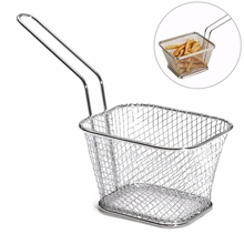 KSFS4Pcs/Lot Mini Chips  Fry Baskets Stainless Steel Fryer Basket Strainer Serving Food Presentation Cooking Tool French Fries