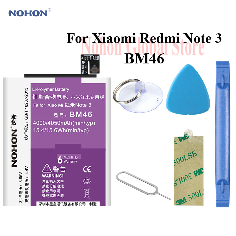 Nohon Battery For XiaoMi RedMi Note 3 Note3 BM46 4050mAh High Capacity Li-polymer Built-in Bateria For RedMi Note 3 BM46 Battery image