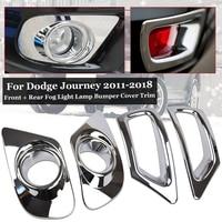 4pcs Fog light Bumper Trims Set Chrome Front+ Rear Cover For Dodge Journey 11 18