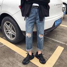 цена 2019 Men's Fashion Trend Cowboy Casual Straight Pants Holes Baggy Homme Classic Jeans men Blue Color Biker Denim Trousers