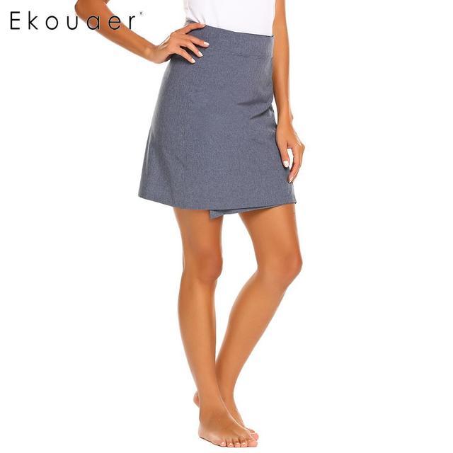 Ekouaer Women Solid Vintage Office Casual Fastening Tape Middle Waist Beach Skirt
