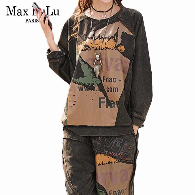 Max LuLu 2019 Spring Fashion Korean Tracksuit Ladies Tops And Pants Womens Punk Two Pieces Sets