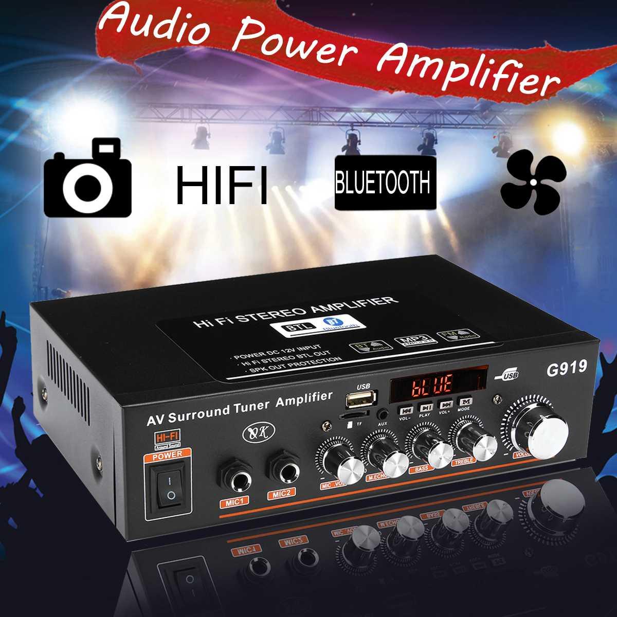 12 v/220 v 360 w g919 mini amplificador de potência estéreo de áudio bluetooth fm sd alta fidelidade 2ch amplificador áudio player de música para casa do carro