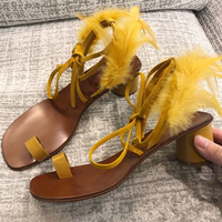 2018 Hot Summer Shoes Woman Sandals Med Square Heel Cross tied Feather Design Casual Sandals Woman Shoes Outside Party Sandals