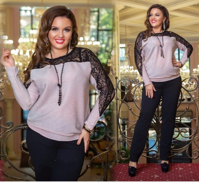 2019 Sequin Ladies Tops Plus Size Blouse Women Sexy Lace Blouse Metallic  Knit Elegant Long Sleeve Black Shirt Camisa Feminina d008f909768b
