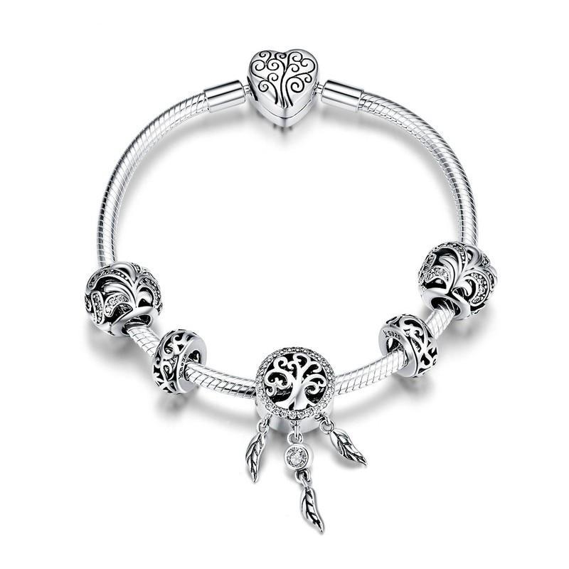 Offre spéciale 925 Sterling Silver Dream Catcher Forêt Arbre Feuilles bracelets porte-bonheur pour Femmes Bijoux En Argent Sterling SCB814 BAMOER
