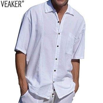 de9fd63ad 2019 Новая мужская бело-черная рубашка мужские повседневные свободные  рубашки с коротким рукавом мужские летние однотонные рубашки топы M-3XL