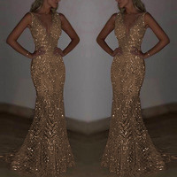 gold/silver bodycon dress Women Sleeveless Deep V Sequin Slim Fitting Long dress for Cocktail Party formal sexy elegant dresses