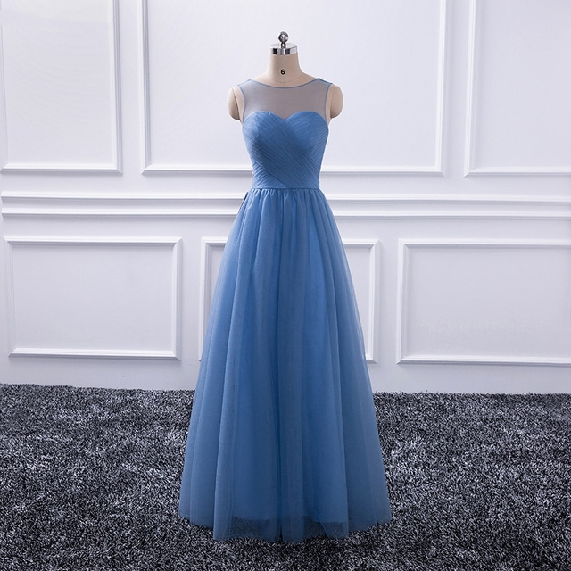 Katristsis d 2019 New Long Bridesmaid Dresses A-line Scoop Pleats Tulle Open Back Formal Wedding Party Gown Custom Made