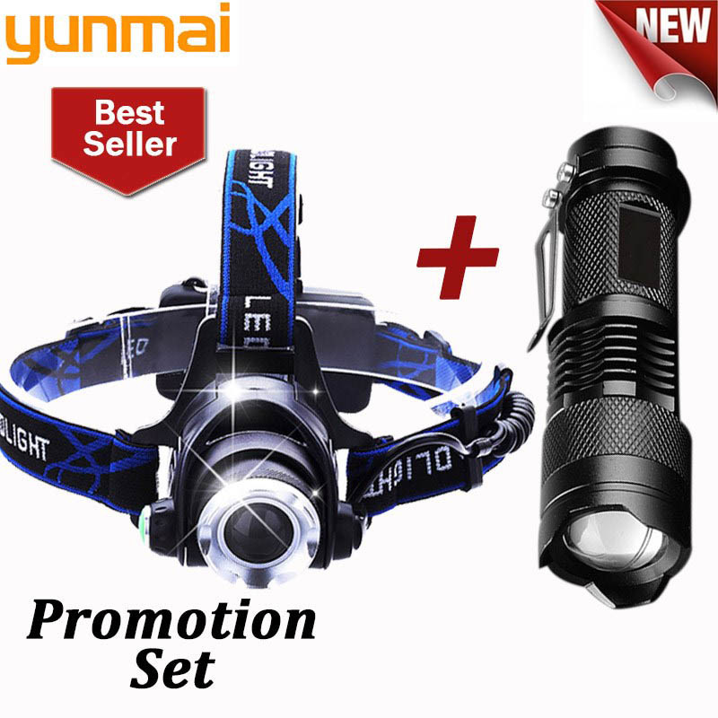 Zoomable 50000LM Headlamp T6 LED Headlight Flashlight+Charger+18650 Battery