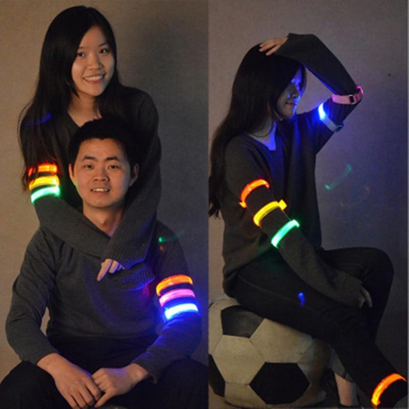 2018 Selling Arm Warmer Belt Bike LED Luminous Armband Safety Sports Reflective Belt Strap Snap Wrap Light Up Arm Band Armband