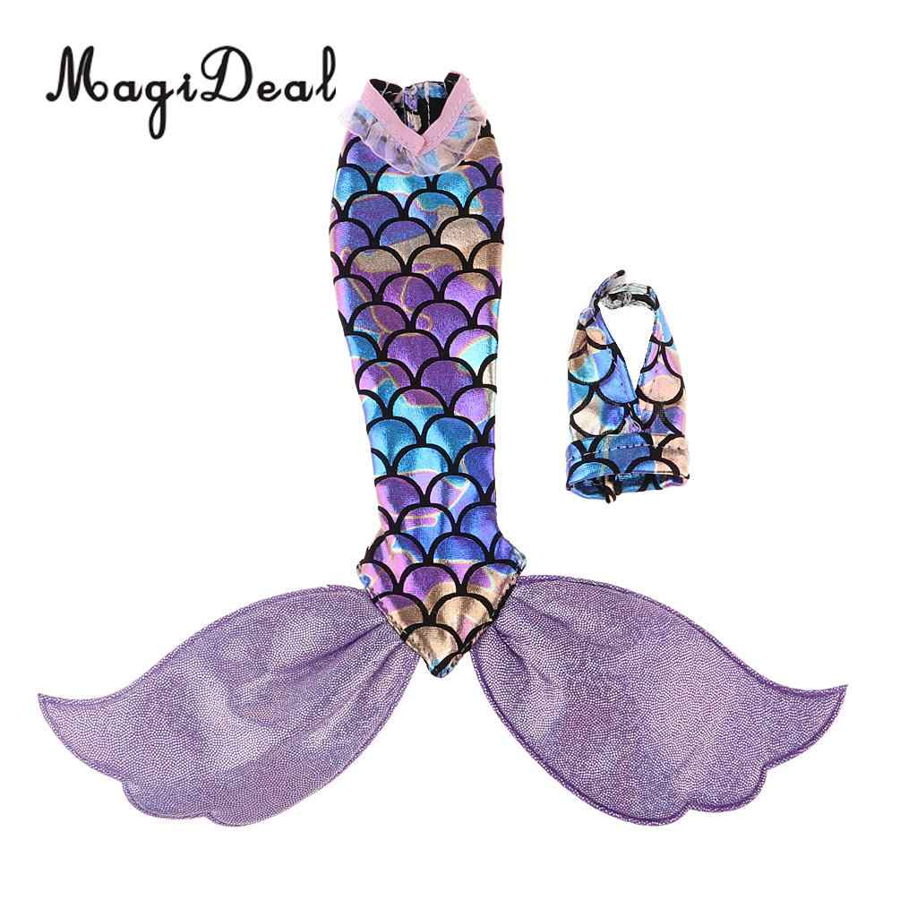 Кукольное платье с хвостом русалки и v-образным воротником Холтер Топ для кукольных аксессуаров светло-фиолетовый