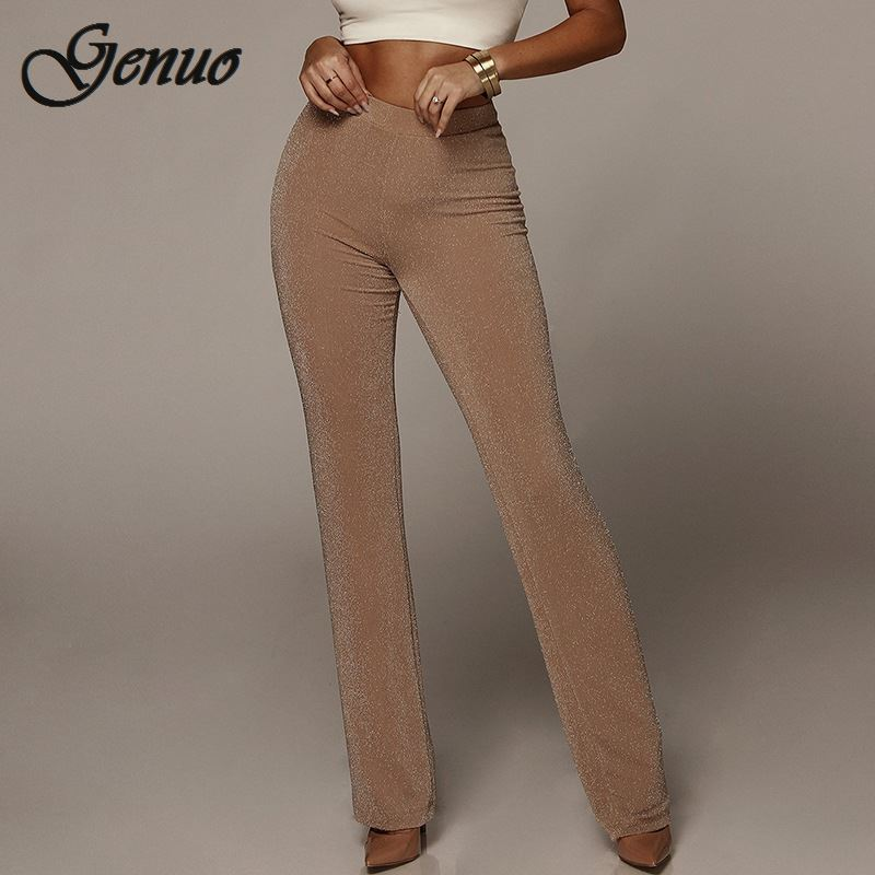 Autumn High Waist   Wide     Leg     Pants   Women Winter Solid High Elastich Flare   Pants   Skinny Casual Sexy Party Trousers Women