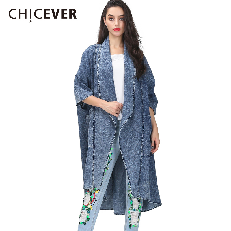 CHICEVER Autumn Denim Trench Coat For Women Windbreaker Batwing Sleeve Loose Big Size Three Quarter Sleeve Coats Female Clothes