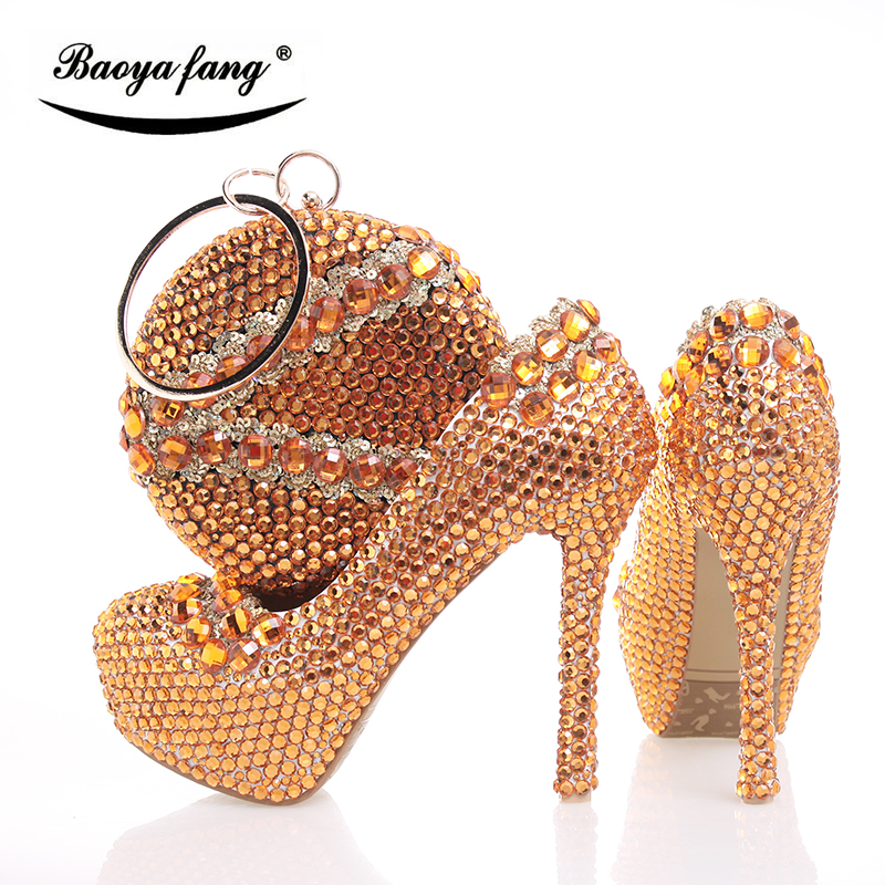 BaoYaFang Orange crystal Womens Wedding shoes with macthing bags high heels platform and purse woman High