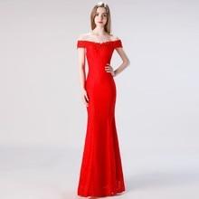 Vivian's Bridal простое платье с открытыми плечами для женщин, платье Русалочки с блестками, кружевное платье с аппликацией, красное кружевное платье, элегантный длинный формальный платье