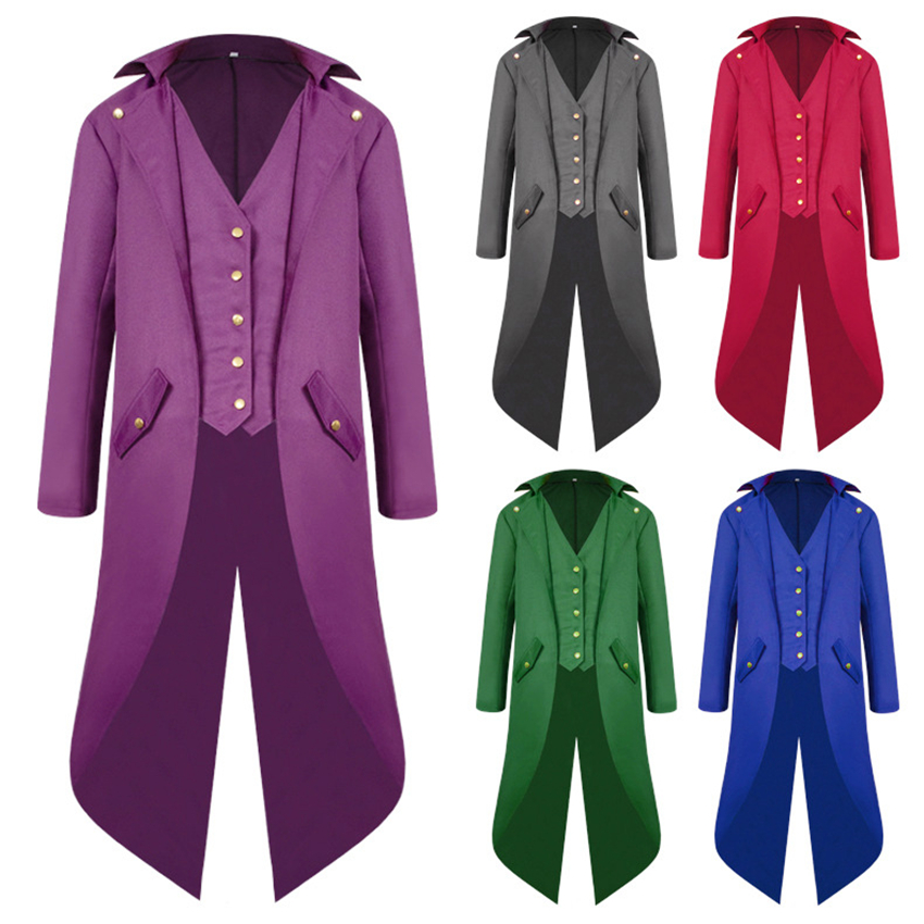 6Colors Medieval Renaissance Man Tuxedo Templar Vintage Steampunk Coat Europe Men's Fancy Halloween Cosplay Costumes Jacket