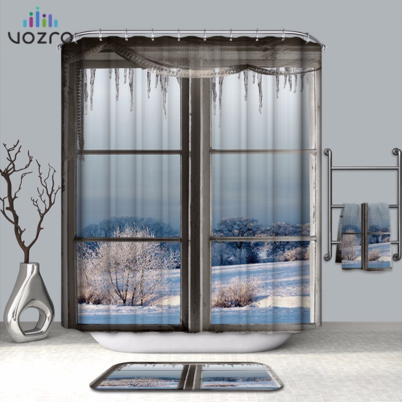 Home Vozro Bathroom Shower Curtain Quality Natural Waterproof Polyester 2 M Cloth 3d Farm Ocean Window Totem Bape Pascoa Cortina Whal