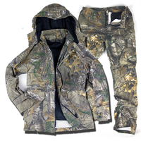 5 Pc Winter Hot Bionic Camouflage Hunting Clothes Liner Detachable Waterproof Windproof Tactical Sniper Multicam Jacket Pant Set
