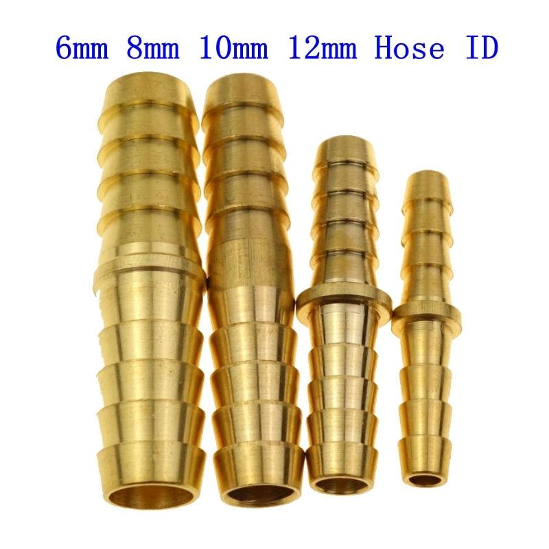 Brass Air Hose Barb Fitting Splicer Mender  Fits For 6mm 8mm 10mm 12mm Hose ID